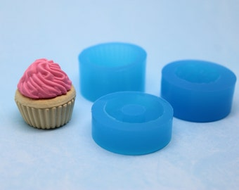 22 mm 3 pc Mini Cupcake Base & Frosting Mold for Polymer Clay or Food
