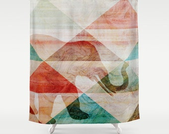 """Abstract Elephant Shower Curtain Teal Brown Beige Red Modern Bathroom Decor  71""""x74"""""""