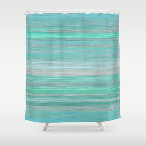 Abstract Shower Curtain Teal Aqua Mint Grey Blue Modern