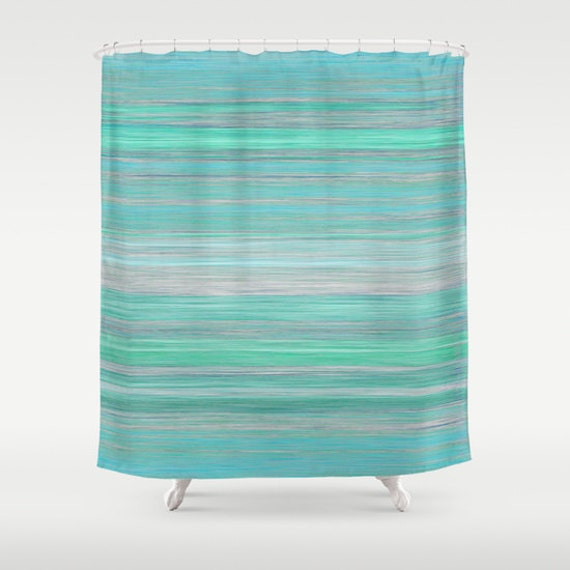 abstract shower curtain teal aqua mint grey blue by