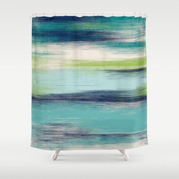 Abstract shower curtain teal navy green cream by for Green and cream bathroom ideas