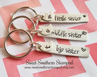 Sisters Keychain Set - Big, Middle, Little Sister and Favorite
