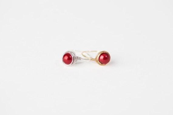 Red Pearl Ring - Red Pearl Wire Ring - Red Pearl Silver Wire Ring - Red Pearl Gold Wire Ring - Wire Jewelry -Silver Wire Ring-Gold Wire Ring