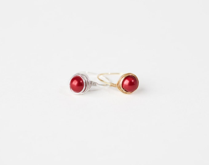 Red Pearl Wire Ring