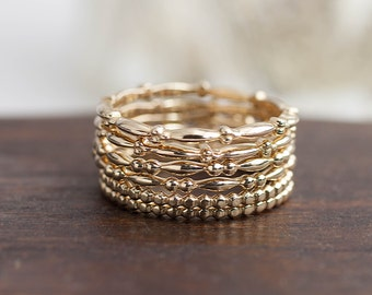 14k solid gold stack ring, stackable gold band, bead ring, dainty gold band, gold wedding band, gold stacking ring, (Single ring)