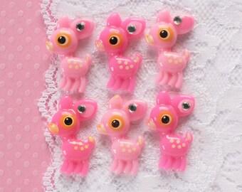 6 Pcs Pink Sweet Deer Cabochons - 28x20mm
