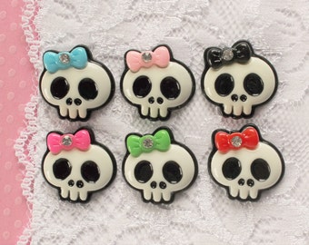 6 Pcs Assorted Outlined Skulls With Rhinestone Bow Cabochons - 20x17mm