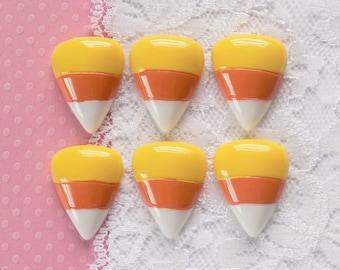 6 Pcs Candy Corn Cabochons - 26x19mm