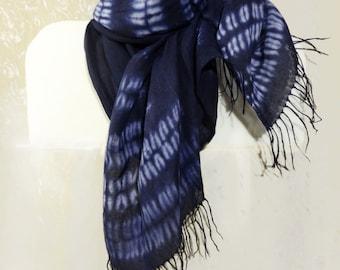 Fringe cotton scarf Shibori long scarf Blue white large hand dyed scarf Tie dyed blue scarf Teens boho tie dye scarf wrap stole Any season