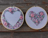 Love Heart Delicate Floral Set of 2 Hand Embroidered Hoops. 6 inch Handmade Embroidery Art. Flowers Valentine. Wedding gift. Made to Order.