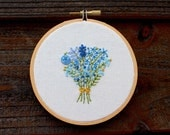 Something Blue Handmade Embroidery Hoop Art. 4 Inch Hand Embroidered Floral Bouquet. Bridal Flower Bouquet. Wedding gift. Gifts for her.