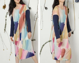 Fine Art Collection color fusion long sleeve dress/two sides to wear designed coat