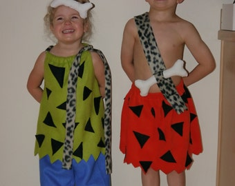 Matching Pebbles and Bamm Bamm costume set for toddlers/babies