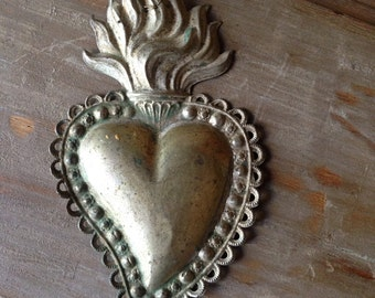 Antique silver plate heart milagro- Italy