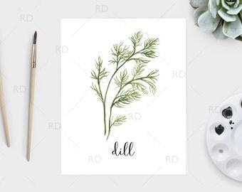 Dill watercolor - PRINTABLE Wall Art / Dill print / Herb printable / Herb print / Herb art / Dill Art / Kitchen art / Kitchen print