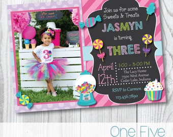 Candy Party Birthday Invitation with Photo - Printable (5x7)