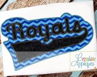 Royals Digital Machine Embroidery Applique Design 6 sizes, royals mascot, royals applique, royals name, royals team, royals word, royals