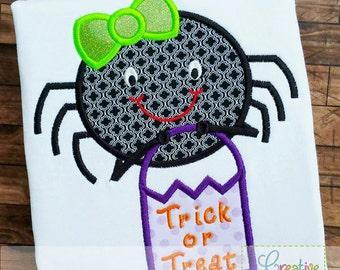 Halloween Girl Spider Digital Machine Embroidery Applique Design 4 sizes, spider applique, halloween spider applique, halloween applique
