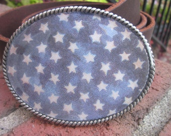 bohemian belt buckle white stars blue accessories mens belt buckle cowboy country western patriotic women's belt buckle Lavish Lucy Designs