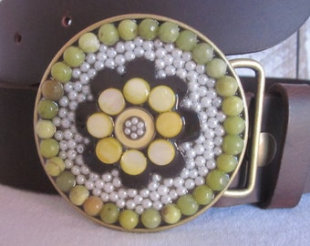 Bohemian belt buckle beaded belt buckle women's belt buckle southwestern embellished buckle olive green jade stone flower unique belt buckle