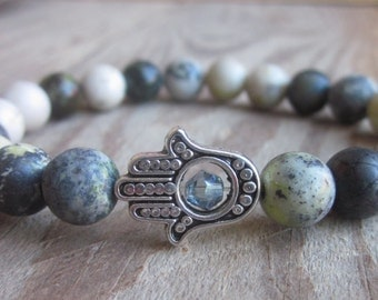 hamsa hand serpentine gemstone protective silver Hamsa hand yoga bohemian beaded mala mens bracelet women's stretch stacking bracelets