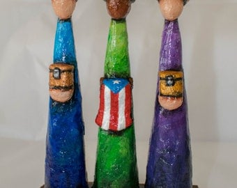 Three Wise Man with a Puerto Rican Flag