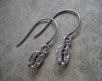 Barista Coffee Bean Earrings, Silver Coffee Bean Earrings, Coffee Lover Earrings, Coffee Grounds, Cup of Coffee, Coffee Bean Dangle Earrings