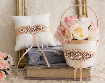 Rose Gold Ring Bearer Pillow Flower Girl Basket Rhinestone Wedding Basket and Pillow Set Blush Wedding Ring Pillow