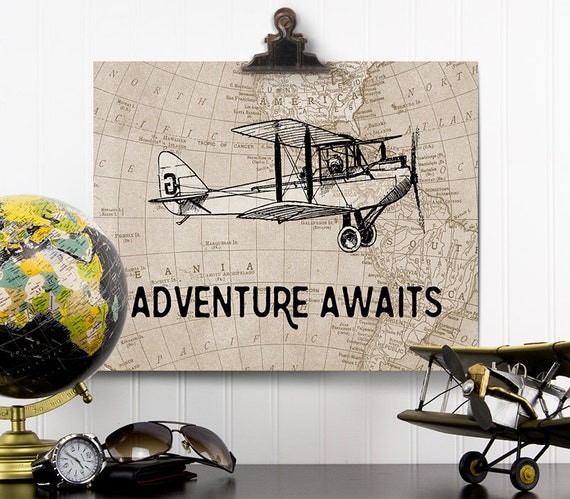 Adventure Awaits Print Vintage Airplane Nursery Adventure