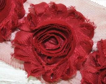 """2.5"""" Burgundy shabby flower trim - frayed chiffon - rose flowers by the yard - CF Scarlet"""