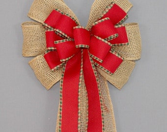Burlap Red Plaid Edge Christmas Bow - Burlap Christmas Bow, Christmas Wreath Bow, Rustic Christmas Bows, Country Christmas Bow