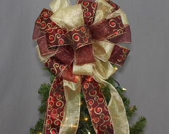 Burgundy Gold Swirl Christmas Tree Bow Topper  - Christmas Tree Bow, Tree Topper, Large Christmas Bow, Bow Tree Topper, Burgundy Christmas