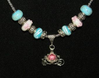 Glow in the Dark Cinderella Pumpkin Carriage Necklace Round Glows