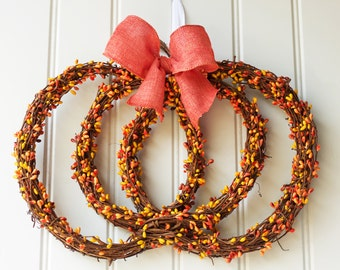 Pumpkin Wreath - Fall Wreath - Thanksgiving Wreath - Halloween Wreath - Pumpkin Shaped Wreath - Autumn Wreath - Thanksgiving Pumpkin Wreath