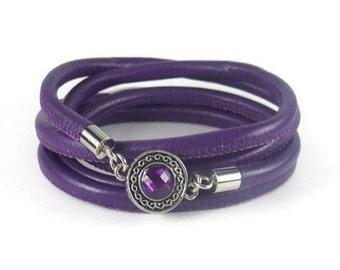 Purple Charm Bracelet, Leather Wrap Bracelet, Womens Charm Bracelet, Leather Jewelry, Bezel Charm Jewelry, Womens Leather Charm Bracelet