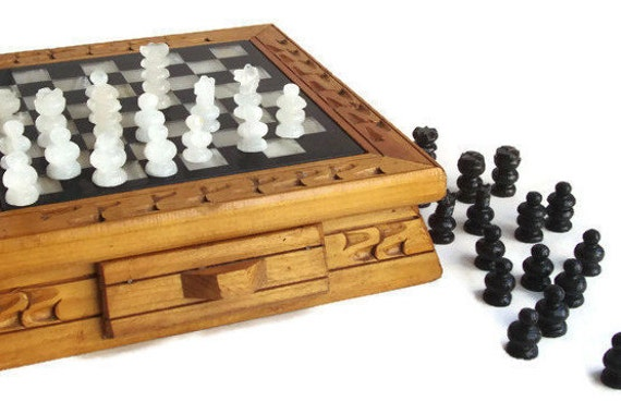 Engraved Limestone Inlay : Small chess set marble inlay carved wood quartz onyx
