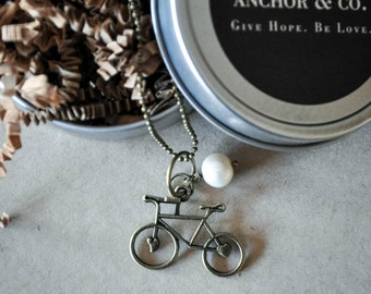 Bike Necklace, Bicycle Necklace, Tiny Heart, Bronze Pendant, Bronze Necklace, Bike, Mountain Bike Necklace, Heart Necklace, Bike Love