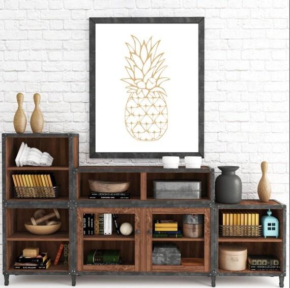 Orange Pineapple Print, Pineapple Art, Pineapple Print, Fruit Art, Print Art, Modern Art Print, Digital Art, Instant Download, Printable Art