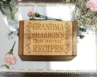 Personalized Recipe Box, Custom Grandmother Recipe Box, Engraved Grandma Recipe box, Engraved Wood Recipe Box, --6822