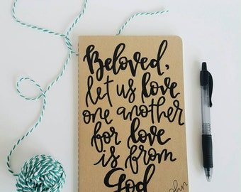 1 John 4:7 - Moleskine Kraft Journal, Hand-lettered, Modern Calligraphy, Prayer Journal