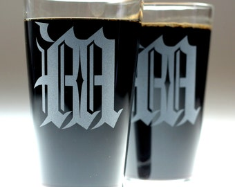 Monogram Old English Etched Sandblasted Glasses (set of 2) , christmas gift , dad gift , father gift , brother gift , newlywed gift ,wedding