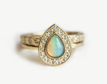 opal wedding ring set halo opal ring halo diamond set unique wedding ring - Opal Wedding Ring