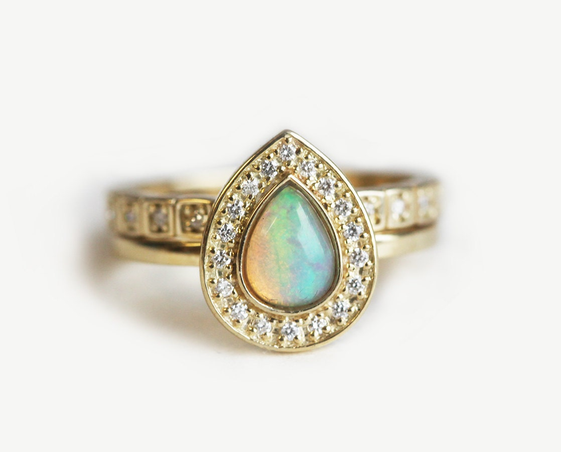 opal eternity ring blue opal wedding rings Opal Wedding Ring Set Halo Opal Ring Halo Diamond Set Unique Wedding Ring Set Pear Opal Engagement Ring with Diamond Eternity Band