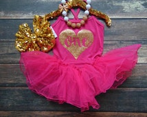 Gold Glitter Birthday Fuchsia Leotard with Tutu - Spaghetti Strap One Piece Leotard Dress - Toddler First Birthday - Girl Birthday Oufit
