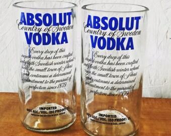 Repurposed Absolut Classic Vodka Bottle Drinking Glasses Tumblers Set