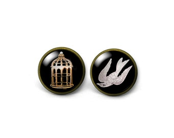 X779- Bioshock Cage or Bird, Glass Dome Post Earrings