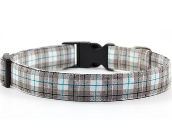 Plaid Dog Collar - 1 or 1.5 inch width - Adjustable Length - Fabric: Comfy Tan, Gray and Teal Plaid