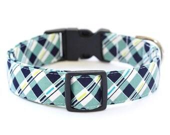 Plaid Dog Collar - 1 inch width - Adjustable Length - Fabric: Blue Plaid