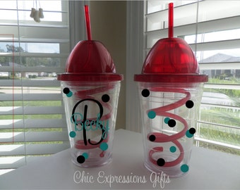 Personalized 16 oz slurpee tumbler.  Customized with up to 3 colors of your choice