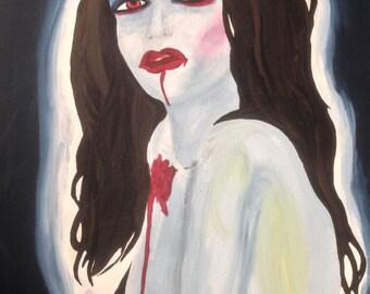 "Acrylic on Canvas Woman Vampire Bite Portrait 19.5 x 16"""